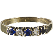 From Denmark .333 Gold Semi-Eternity Ring w/White & Blue Stones