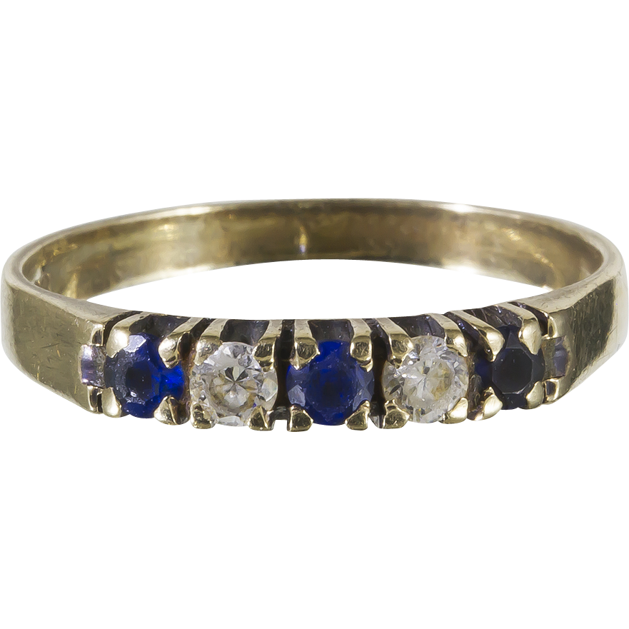 from denmark 333 gold semi eternity ring w white blue. Black Bedroom Furniture Sets. Home Design Ideas