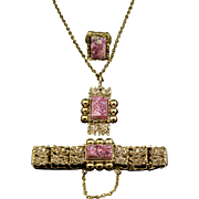 Finnish 3-Piece  Brutalist Style Necklace Set, Brass-Toned with Unpolished Rhodonite Stones
