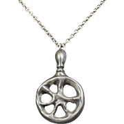 Signed Jorgen Jensen Pewter Pendant Necklace from Denmark