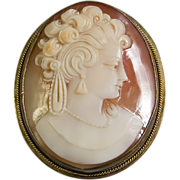 10 Karat Yellow Gold Cameo Brooch or Pendant