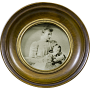 Vintage Small Round Wood Picture Frame