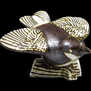 Gustavsberg of Sweden, brown & Cream Bird Figurine Designed by Sven Wejsfelt