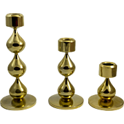 Asmussen, Danish Design,  Gold Drop Candle Holders  Set of 3