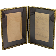 Double Photograph Frame Brass/Metal  w/Bowed Glass
