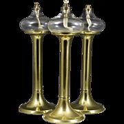 Danish Mid-Century Modern 3 G. V. Harnisch Brass Oil Lamps w/Glass Globes