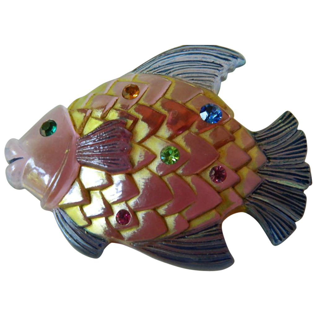 "Jeweled lucite ""Fish"" pin"