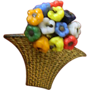 Hand wired- beads-Early Haskell- flower basket-clip