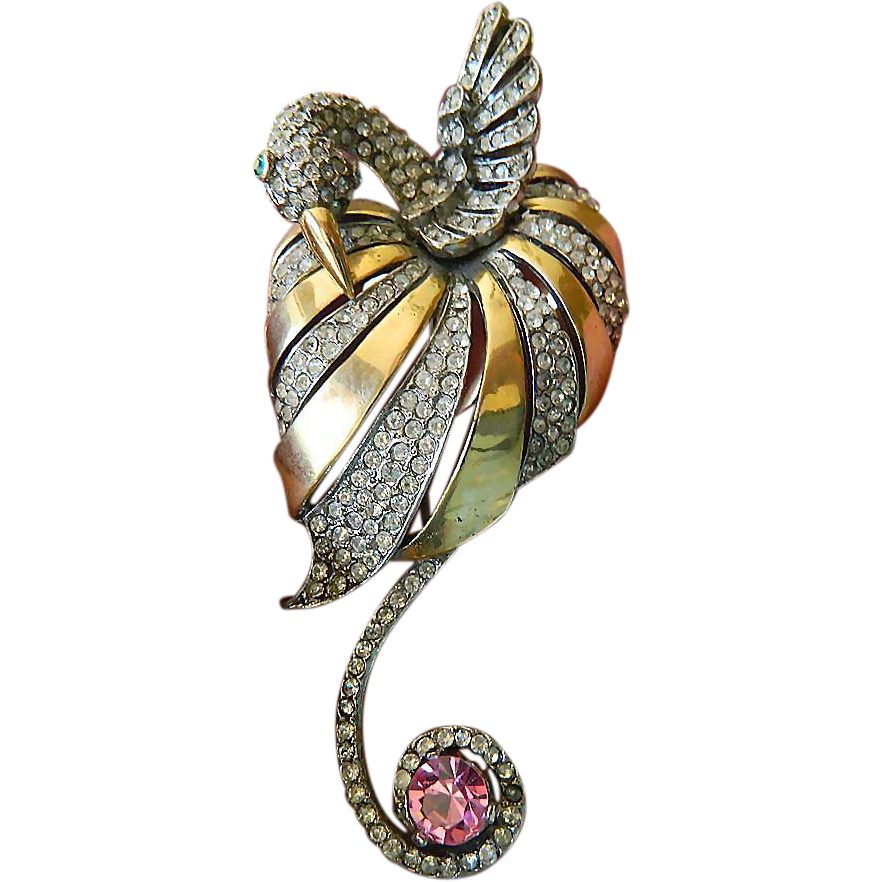 "Exquisite ""Book piece"" Reja- swan brooch-rare item"