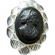 Black bakelite  and clear color Cameo Pendant