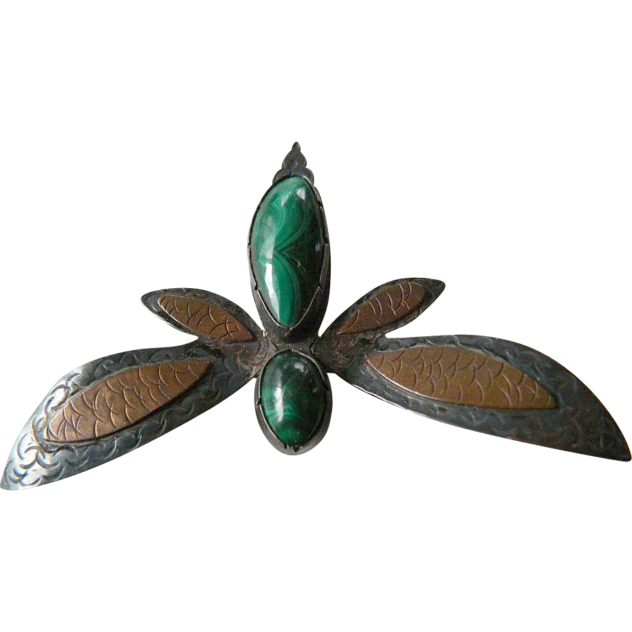 """Hand made- """"Bug"""" pin- Copper-silver with Stones"""