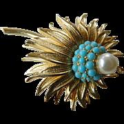 Elegant signed Boucher- Flower pin