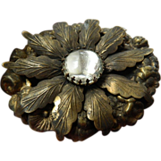 Victorian brass layered- Brooch