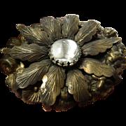 Victorian brass layered- Brooch
