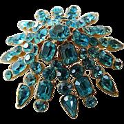 Gorgeous glass Aqua stones raised Starburst pin