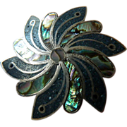 Vintage signed-pin/ pendant- Mexican silver- inlaid turquoise- abalone