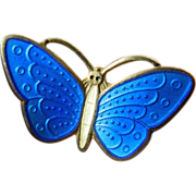 Signed- Norway- enameled -sterling Butterfly pin