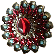 Rare and Spectacular- Signed Eisenberg- sterling -Glass stones-Brooch-clip