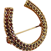 Czech. 10k-gold filled Horse shoe Pin