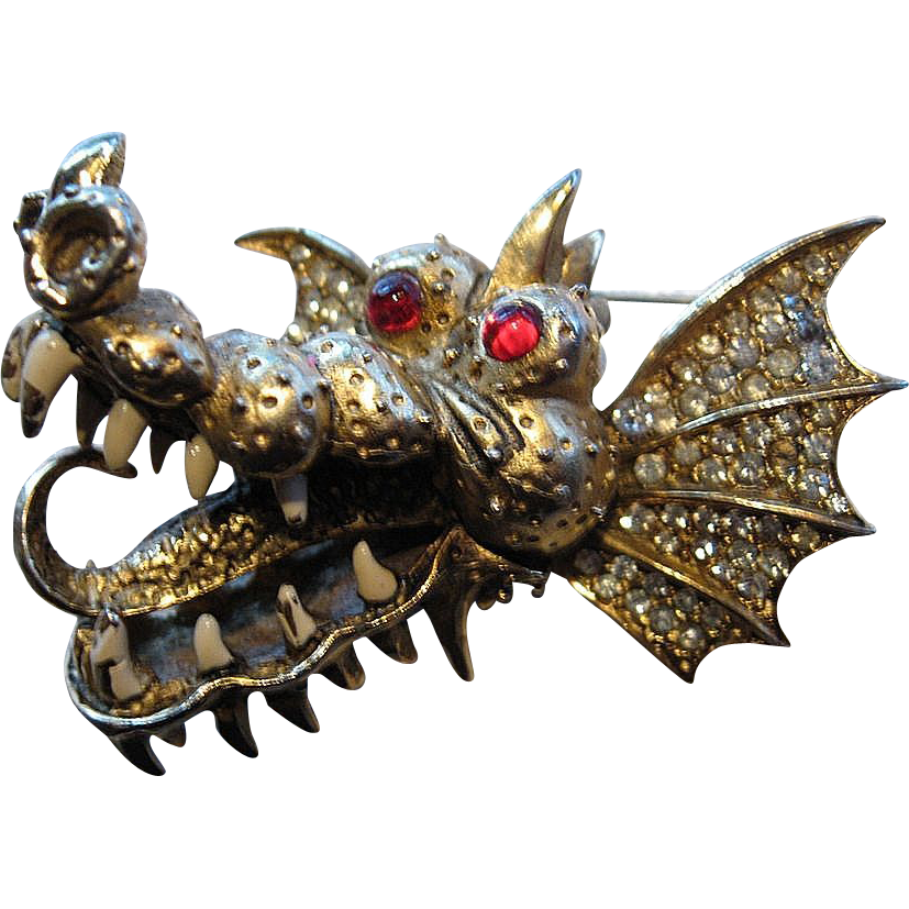 Rare and exciting- Hattie Carnegie- Mythical dragon pin