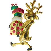 signed-Danecraft Christmas pin-Shopping deer