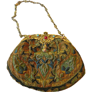 French silk embroidered Victorian purse-Semi precious stones