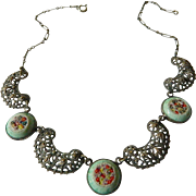 1910-1920 Dainty chain link-Micro mosaic necklace