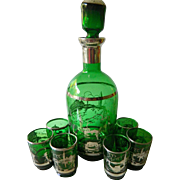 Italian glass Decanter with glasses