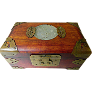 Chinese -vintage wood box-Jade and brass-Silk lined