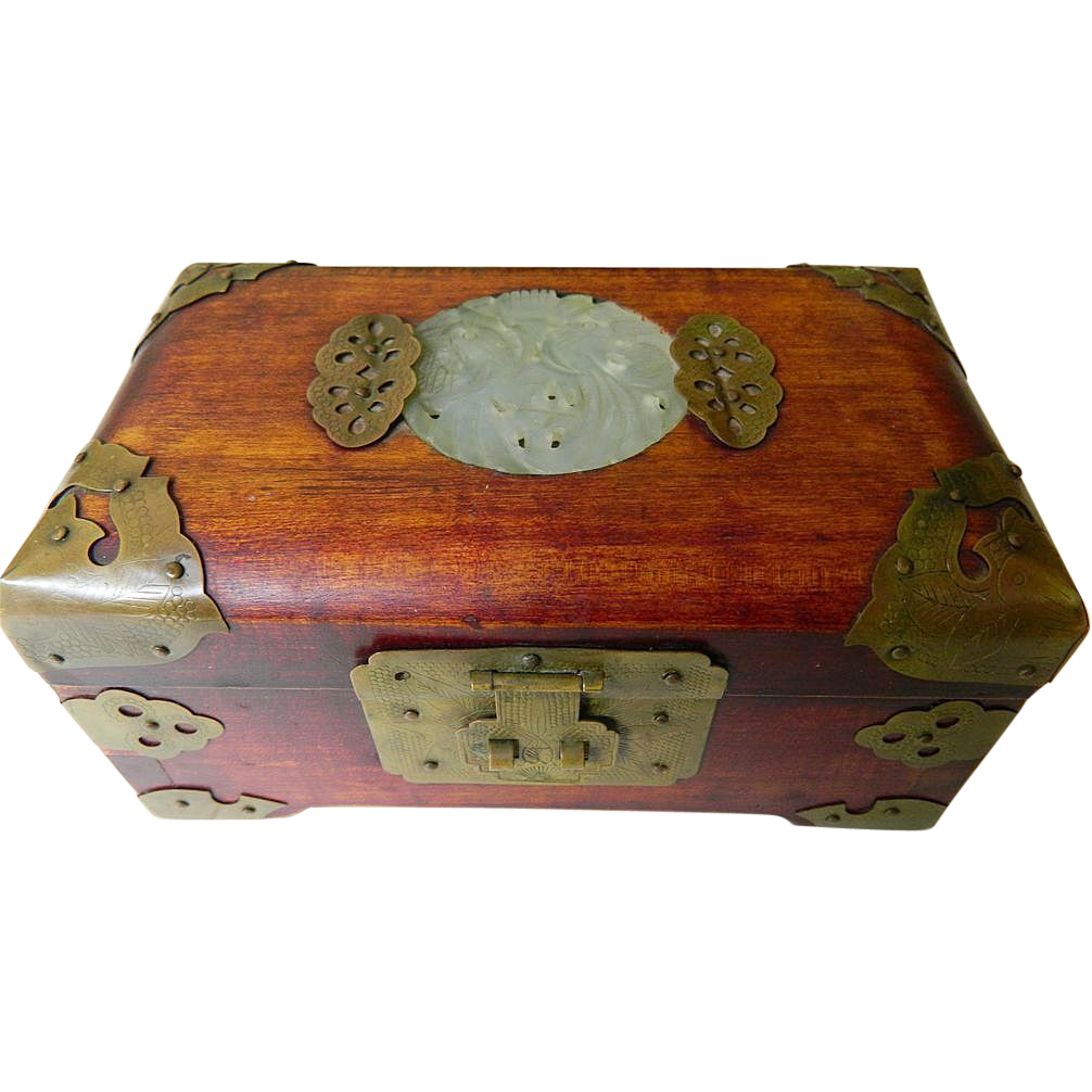 Chinese vintage wood box jade and brass silk lined sold for Wood in chinese