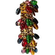 Gorgeous-signed Miriam Haskell- Expandable bracelet with Glass stones