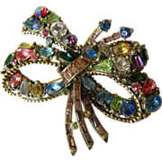Opulent-signed Hollycraft- Jeweled pin-1950's