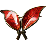 David Andersen- Norway- enameled- Leaf pin- sterling
