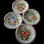 Four beautiful Hollohaza- Hand painted-Hungarian porcelain -mini dishes
