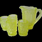Weishar glass- Mini set-vaseline glass