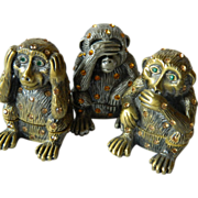 Monkey trio-Jeweled trinket Boxes