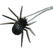 Jeweled spider pendant with sterling chain