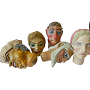 Vintage-hand carved- Marionette heads-SALE!!