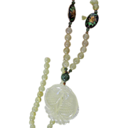 Light and Dark jade- Cloisonne and silver bead and Carved necklace