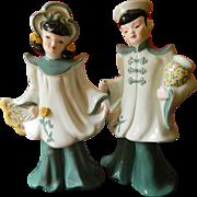 Pair of Florence ceramics-Asian couple figures
