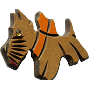 Adorable Folk art- wood Scotty dog pin