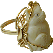 Hand carved Cat ring-SALE!
