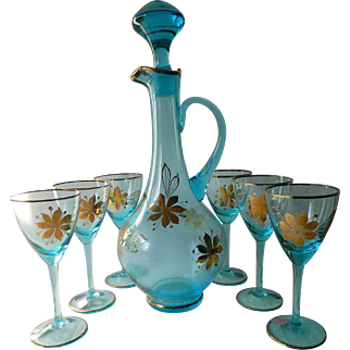 Gorgeous handcrafted-Crystal glass decanter-Six glasses