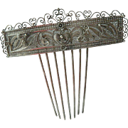 Victorian silver Hair comb