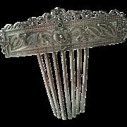 Victorian silver Hair comb