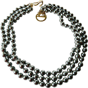 Lovely KJL-Kenneth J. Lane- gunmetal pearl Necklace
