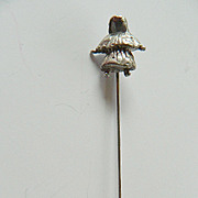 Hand made- Girl figure silver-Stick pin