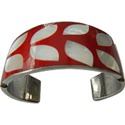 Inlaid MOP-enameled bracelet