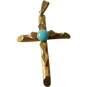 18k gold cross With turquoise stone-Greece