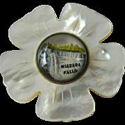 Vintage-MOP carved Niagara Falls pin